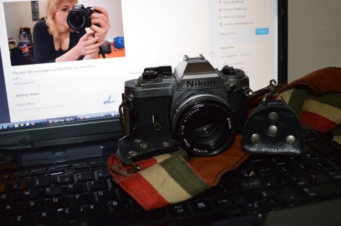 Where the love affair with analogue photography got serious; the first camera I owned that wasn't disposable. My NIkon FG, a gift from my parents on my 19th birthday.  Sexual 70s strap came along years later, pilfered from my Olympus OM10